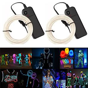 cheap LED String Lights-3m String Lights Flexible Folding Light Line EL 2.3mm Multiple Color Choice Waterproof Bendable Shape Halloween Festival Party Holidays 2pcs
