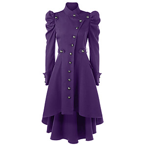 cheap Historical & Vintage Costumes-Plague Doctor Retro Vintage Steampunk Coat Masquerade Women's Cotton Costume Black / Wine / Purple Vintage Cosplay Party Halloween Long Sleeve