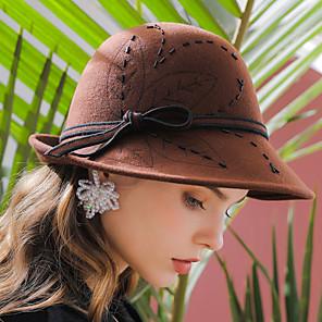 cheap Historical & Vintage Costumes-Elizabeth Audrey Hepburn Women's Adults' Ladies Retro Vintage Cloche Hat Hat Black Brown Red Solid Colored Vintage Wool Headwear Lolita Accessories