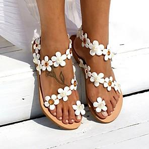 cheap Women's Sandals-Women's Sandals Boho / Beach Flat Sandals Summer Flat Heel Peep Toe Boho Daily Beach PU White