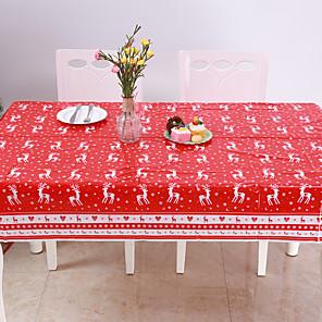 cheap Christmas Decorations-Disposable Merry Christmas Rectangular Printed PVC Cartoon Tablecloth 120 * 180cm