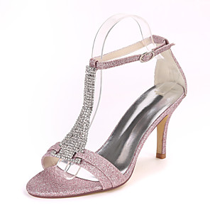 cheap Women's Shoes-Women's Wedding Shoes Stiletto Heel Open Toe Rhinestone Synthetics Sweet Fall / Spring & Summer White / Champagne / Light Purple / Party & Evening