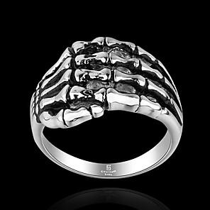 cheap Men's Necklaces-Men's Band Ring Ring 1pc Black Titanium Steel Geometric Vintage Punk Rock Halloween Street Jewelry Vintage Style Precious Cool