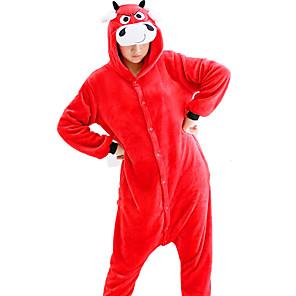 cheap Kigurumi Pajamas-Adults' Kigurumi Pajamas Milk Cow Onesie Pajamas Flannelette Red Cosplay For Men and Women Animal Sleepwear Cartoon Festival / Holiday Costumes