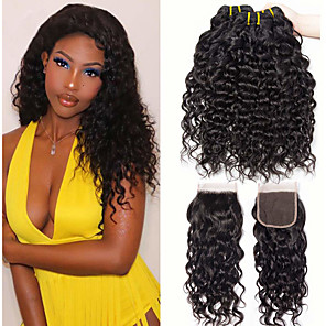 cheap Colored Hair Weaves-3 Bundles with Closure Hair Weaves Brazilian Hair Water Wave Human Hair Extensions Remy Human Hair 100% Remy Hair Weave Bundles 345 g Natural Color Hair Weaves / Hair Bulk Human Hair Extensions 8-28