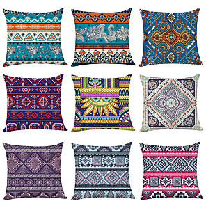 cheap Pillow Covers-9 pcs Linen Pillow Cover, Geometric Lines / Waves Fashion Boho Throw Pillow