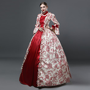 cheap Historical & Vintage Costumes-Marie Antoinette Rococo Victorian Medieval Renaissance 18th Century Dress Ball Gown Women's Costume Red / Olive Vintage Cosplay Party Prom 3/4 Length Sleeve Floor Length Long Length Ball Gown