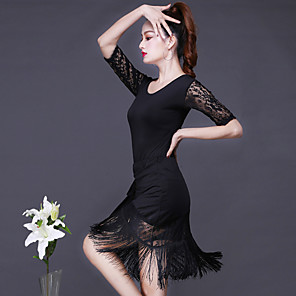 cheap Latin Dancewear-Latin Dance Skirts Tassel Women's Training Performance Half Sleeve Dropped Lace Milk Fiber