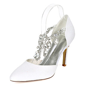 cheap Wedding Shoes-Women's Wedding Shoes Stiletto Heel Pointed Toe Rhinestone Synthetics Minimalism Fall / Spring & Summer White / Champagne / Light Purple / Party & Evening