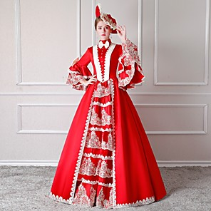 cheap Historical & Vintage Costumes-Rococo Victorian 18th Century Dress Party Costume Masquerade Women's Lace Cotton Costume Red Vintage Cosplay Party Prom Floor Length Long Length Ball Gown / Floral / Hat