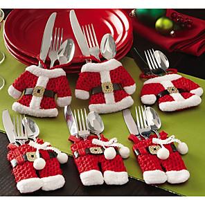 cheap Christmas Decorations-6pcs Christmas Cutlery Table Bag  Cutlery Pocket Knife Tableware Bag Santa Claus Dinner Table Home Decoration