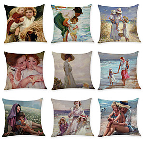 cheap Pillow Covers-9 pcs Linen Pillow Cover, Holiday Contemporary Simple Fashion Throw Pillow