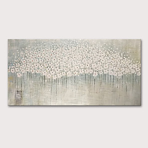 cheap Abstract Paintings-Oil Painting Hand Painted - Floral / Botanical Abstract Landscape Comtemporary Modern Rolled Canvas