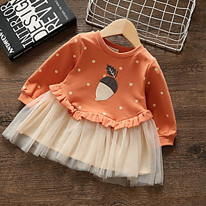 cheap Baby Girls'  Dresses-Baby Girls' Basic Polka Dot Print Long Sleeve Cotton Dress White / Toddler