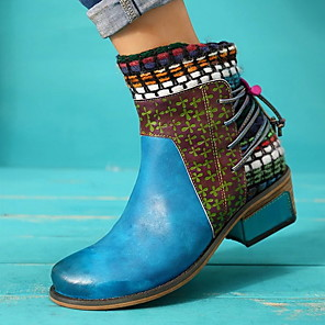 cheap Women's Boots-Women's Boots Comfort Shoes Chunky Heel Round Toe PU Booties / Ankle Boots Fall & Winter Blue