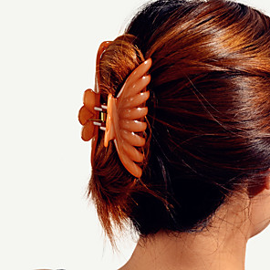 cheap Hair Jewelry-Women's Hair Claws For School Going out Office & Career Lawn Geometrical Plastic Brown 1