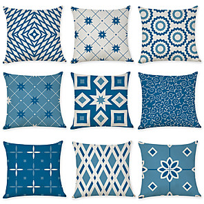 cheap Throw Pillow Covers-Set of 9 Linen Pillow Cover, Geometric Pattern Geometic Leisure Modern Throw Pillow