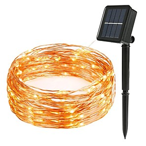 cheap LED String Lights-LED Solar String 8mode Fairy Light Christmas Lights 12m 100LED Copper Wire Wedding Party Decor Lamp