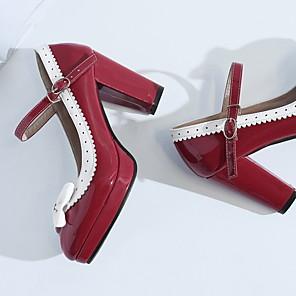 cheap Women's Boots-Women's Boots Chunky Heel Round Toe PU Summer Black / Purple / Red