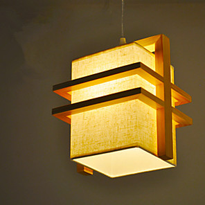 cheap Indoor Wall Lights-1-Light 20 cm Pendant Light Wood / Bamboo Fabric Geometrical Painted Finishes Nordic Style 110-120V / 220-240V