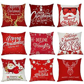 cheap Sale-9 pcs Linen Cotton / Linen Pillow Cover, Holiday Christmas Modern Christmas Throw Pillow