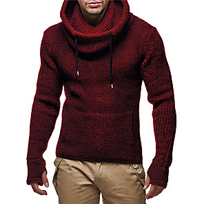 cheap Ethernet Cable-Men's Solid Colored Long Sleeve EU / US Size Pullover Sweater Jumper, Hooded Black / Wine / Navy Blue US32 / UK32 / EU40 / US34 / UK34 / EU42 / US36 / UK36 / EU44