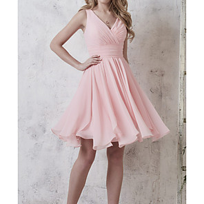 cheap Wedding Shoes-A-Line Plunging Neck Knee Length Chiffon Bridesmaid Dress with Ruching