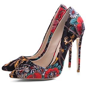 זול נעלי עקב לנשים-בגדי ריקוד נשים עקבים עקב סטילטו בוהן מחודדת פוליאסטר קיץ & אביב שחור אדום