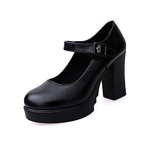 cheap Women's Heels-Women's Heels Summer Chunky Heel Round Toe Daily PU Black / Burgundy / 2-3