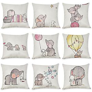 cheap Pillow Covers-9 pcs Linen Pillow Cover, Animal Graphic Prints Casual European Throw Pillow