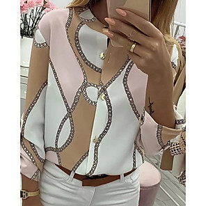 cheap Women's Heels-Women's Blouse Chains Print Button Tops Khaki