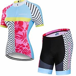 cheap Cycling Jersey & Shorts / Pants Sets-CAWANFLY Women's Short Sleeve Cycling Jersey with Shorts Blue+Pink Floral Botanical Bike Clothing Suit 3D Pad Quick Dry Winter Sports Spandex Lycra Curve Mountain Bike MTB Road Bike Cycling Clothing