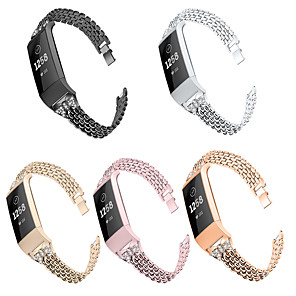 cheap Smartwatch Bands-Applicable to the Fitbit charge3 table set auger metal strip belt diamond stainless steel band set auger butterfly