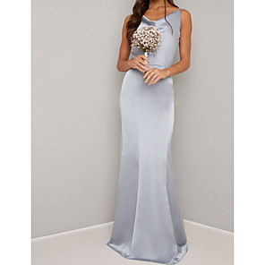 cheap Bridesmaid Dresses-Sheath / Column V Neck Floor Length Satin Bridesmaid Dress with Ruching