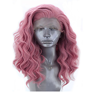 cheap Synthetic Trendy Wigs-Synthetic Lace Front Wig Wavy Side Part Lace Front Wig Pink Short Pink+Red Synthetic Hair 12-16 inch Women's Adjustable Heat Resistant Party Pink