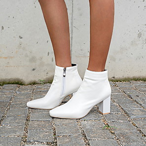 cheap Women's Boots-Women's Boots Chunky Heel Square Toe PU Booties / Ankle Boots Winter Black / White