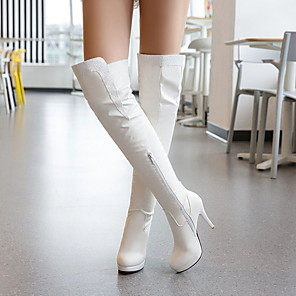 cheap Clutches & Evening Bags-Women's Boots Knee High Boots Stiletto Heel Round Toe PU Knee High Boots Fall & Winter Black / White