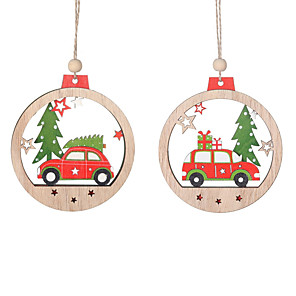 cheap Christmas Decorations-2pcs Wooden Angel Doll Home Decor Elk Hanging Christmas Tree Decoration Crafts Christmas Gift