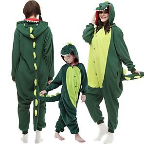 cheap Dog Clothes-Kid's Adults' Kigurumi Pajamas Dinosaur Monster Onesie Pajamas Flannel Dark Green / Red Cosplay For Men and Women Animal Sleepwear Cartoon Festival / Holiday Costumes / Leotard / Onesie