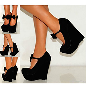 cheap Women's Heels-Women's Heels Wedge Heel Round Toe Bowknot Polyester Sweet Spring &  Fall Black / Light Green / Orange