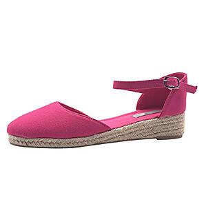 cheap Latin Shoes-Women's Flats Wedge Heel Round Toe Buckle Canvas Casual Walking Shoes Spring &  Fall Purple / Fuchsia / Beige