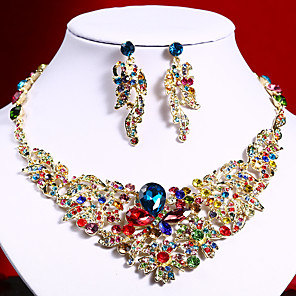 cheap Jewelry Sets-Women's Clear Blue Red AAA Cubic Zirconia Collar Necklace Chandelier Fashion Elegant Rhinestone Earrings Jewelry Rainbow / Transparent / White For Wedding Engagement Holiday 1 set