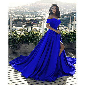 cheap Bridesmaid Dresses-A-Line Sexy Blue Prom Formal Evening Dress Off Shoulder Short Sleeve Chapel Train Satin with Split Front 2020