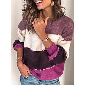 cheap Women's Boots-Women's Striped Long Sleeve Pullover Sweater Jumper, Turtleneck Black / Purple / Orange S / M / L