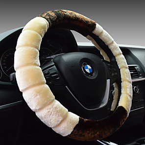 cheap Steering Wheel Covers-Car steering wheel set short plush winter four seasons universal put set leather hand seam women anti-slip absorb sweat long easy speed