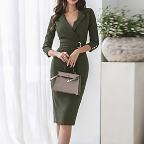 cheap Synthetic Trendy Wigs-Women's Army Green Dress Sheath Solid Colored Deep V S M Slim