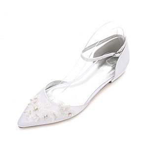 cheap Wedding Shoes-Women's Wedding Shoes Glitter Crystal Sequined Jeweled Flat Heel Pointed Toe Rhinestone / Sparkling Glitter / Stitching Lace Satin Classic / Sweet Spring & Summer / Fall & Winter White / Ivory