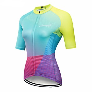 cheap Cycling Jersey & Shorts / Pants Sets-CAWANFLY Women's Short Sleeve Cycling Jersey Red / Yellow Gradient Bike Jersey Top Mountain Bike MTB Road Bike Cycling Breathable Quick Dry Back Pocket Sports Clothing Apparel / Advanced / Expert