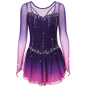 cheap Ice Skating Dresses , Pants & Jackets-Figure Skating Dress Women's Girls' Ice Skating Dress Black Deep Blue Dark-Gray Open Back Spandex Stretch Yarn High Elasticity Training Competition Skating Wear Handmade Solid Colored Classic Crystal