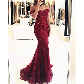 cheap Latin Dancewear-Mermaid / Trumpet Sparkle Red Prom Formal Evening Dress Off Shoulder Short Sleeve Sweep / Brush Train Lace with Sequin Appliques 2020
